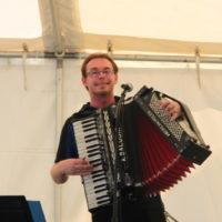 Man playing an accordion.