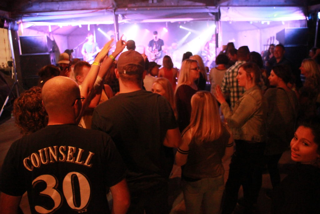 People standing and dancing at a night concert.