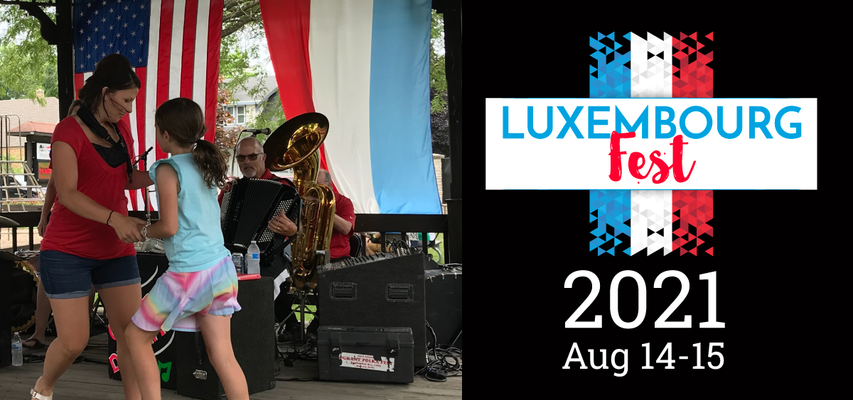 woman and girl dancing in front of a polka band with event information to the right.
