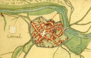 old map of walled city of Echternach