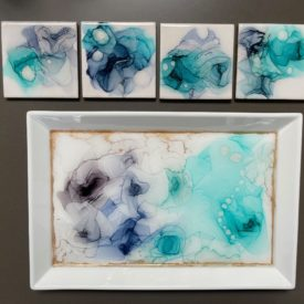 Hand-painted coasters and serving tray