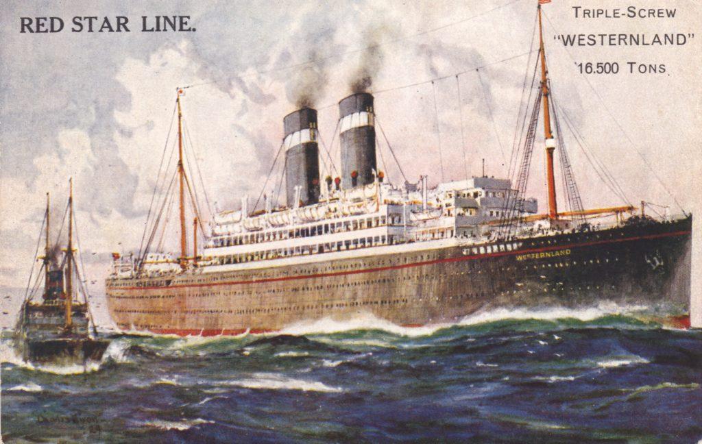 """Painting of steamer passenger ship """"The Westernland"""" of the Red Star Line"""