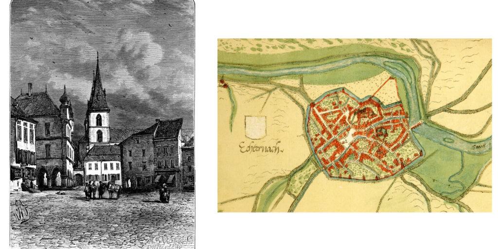 Echternach map and etching