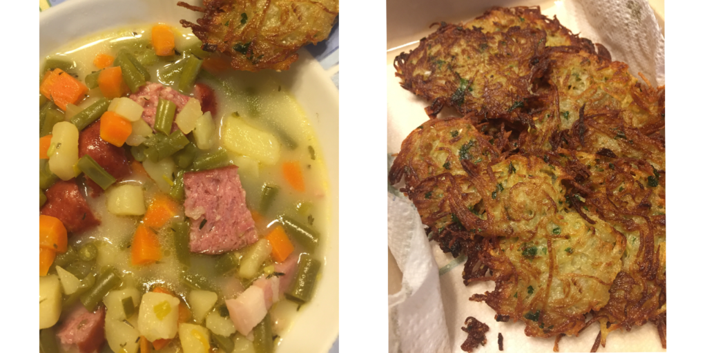 Combined image of pea soup and fried potato fritters.